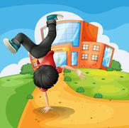 Stock Illustration of A boy doing breakdance along the school