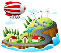 A village with an airship above - stock illustration