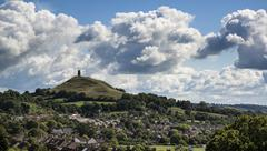 beautiful landscape view of glastonbury tor on summer day - stock photo