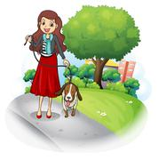 A woman with her dog at the road Stock Illustration