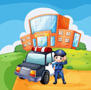 A patrol car and the policeman near the school - stock illustration