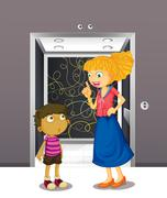 Stock Illustration of A mother and his son at the elevator