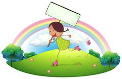 A girl in the hill holding a signboard - stock illustration