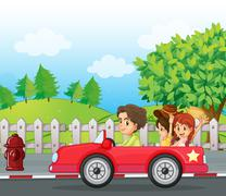 A young gentlemen driving a car with two ladies at the back Stock Illustration