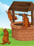 Three sea lions near the wishing well - stock illustration