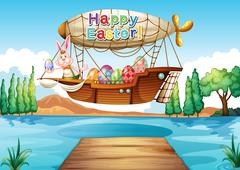 Stock Illustration of An airship with an easter greeting