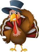 A turkey with a hat - stock illustration