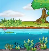 Land and aquatic environment - stock illustration