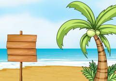 Signpost and coconut tree - stock illustration