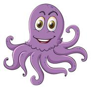 Comical octopus on white - stock illustration