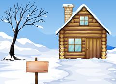 Signboard, dying tree, house Stock Illustration