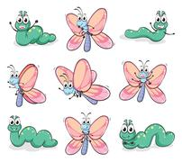 A caterpillar and a butterfly Stock Illustration