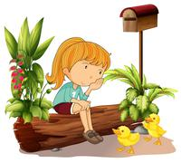 A sad girl and the two ducklings Stock Illustration