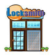 A locksmith shop Stock Illustration