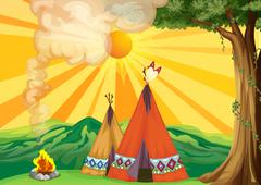 Stock Illustration of Tents in the woods