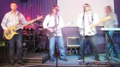The group Watson of five persons performs in a nightclub Stock Footage