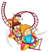 Three children riding in a roller coaster Stock Illustration