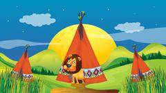 Stock Illustration of A lion inside a tent