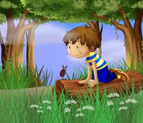 A boy watching an insect - stock illustration
