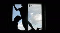 Workers dismantle the old window of the window niche. Time lapse. Stock Footage