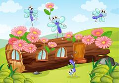 Flies and a wood house - stock illustration