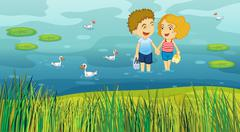 A girl and a boy in the pond - stock illustration