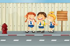 Children laughing along the road Stock Illustration
