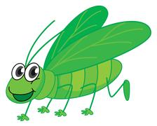 A smiling grasshopper - stock illustration