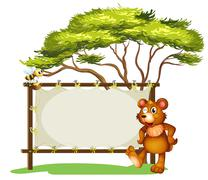 A notice board, a bear and a honey bee Stock Illustration