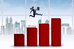 female entrepreneur running over chart - stock illustration