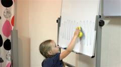 Baby wipes painted sponge drawing on a blackboard Stock Footage