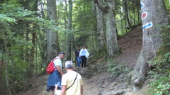 Tourists walking on a mountain trail. Holiday trip. Stock Footage