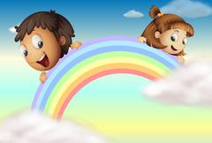 Holding the rainbow Stock Illustration