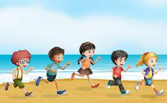 Running children Stock Illustration