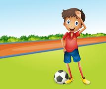 Stock Illustration of A boy playing football