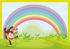 Rainbow and monkey playing in nature Piirros