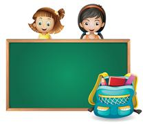 Smiling kids and a green board - stock illustration