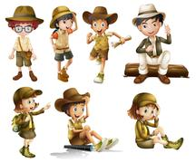 Boys and girls in safari costume - stock illustration