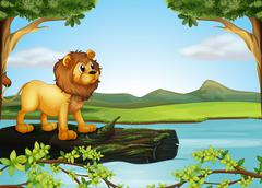 Stock Illustration of A lion above a trunk with algae