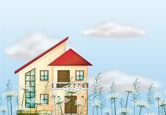 Stock Illustration of A red color roof house