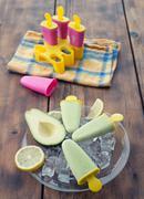 homemade avocado popsicle - stock photo