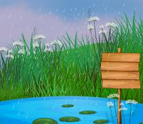 A pond and the wooden signboard Stock Illustration