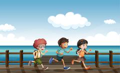 Kids running on a wooden bench Stock Illustration