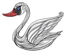 A sad swan Stock Illustration