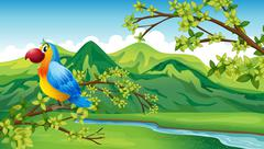 A parrot near the riverbank - stock illustration