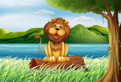 A lion at the riverbank - stock illustration