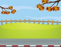 The wooden fence at the roadside - stock illustration