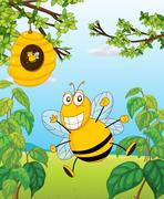 A bee and a beehive - stock illustration