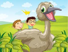 Two boys at the back of a big bird - stock illustration