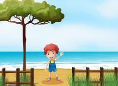 A boy at the seashore Stock Illustration